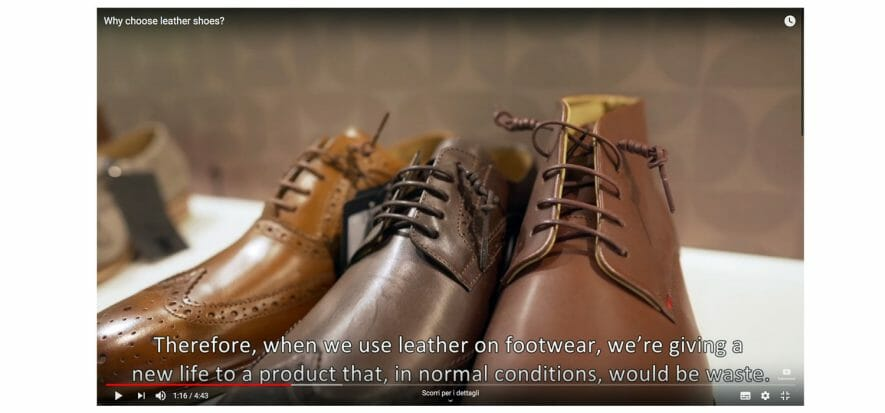 The video explaining why we should prefer leather shoes