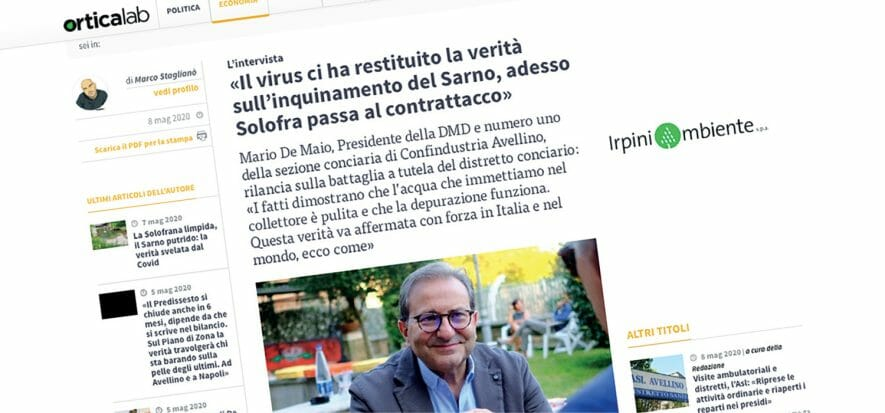 """Solofra: """"Covid restituisce la verità sul Sarno"""", dice De Maio"""