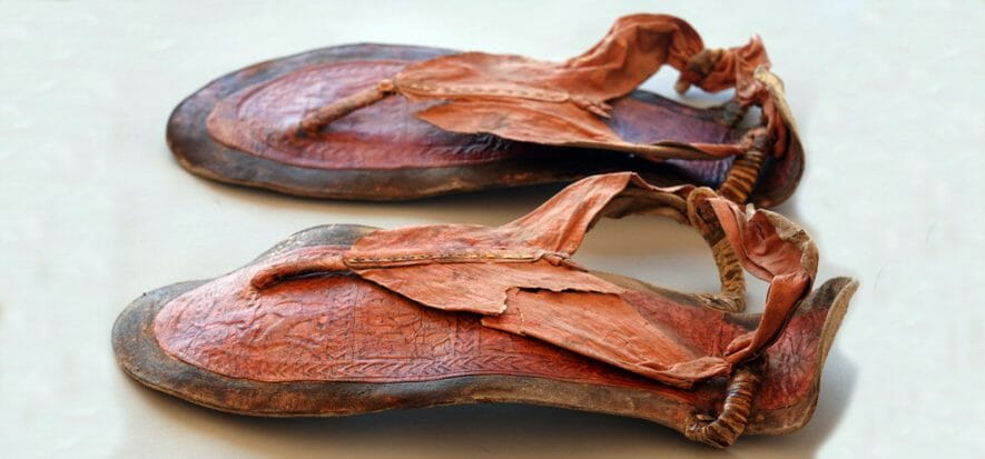 Look at these leather sandals: how old do you think they are?