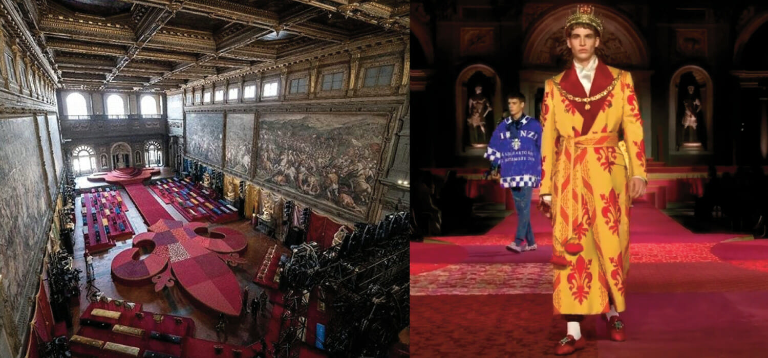 D&G walk the catwalk in Florence: a renascence with leather and artisans