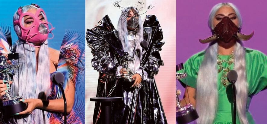 MTV VMA, Lady Gaga is the queen in leather and artists' masks