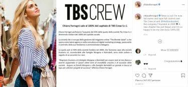 Ferragni liquida Morgese e Barindelli e sale al 100% di TBS Crew