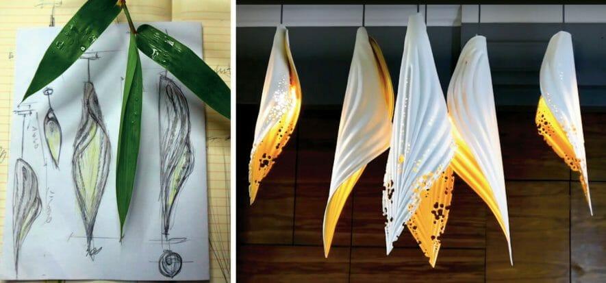 Sembrano foglie, ma sono lampade e sono in pelle (al vegetale)