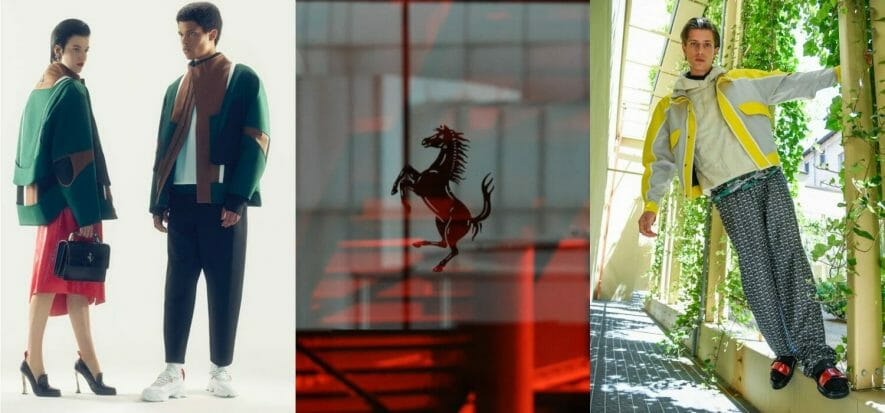 In Ferrari's debut on the catwalk, leather is the protagonist