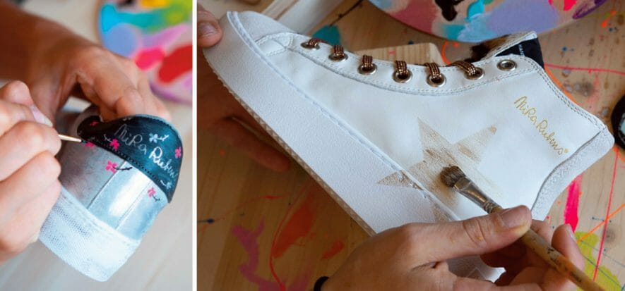 NiRa Rubens, the hand-painted sneaker that interacts with leather